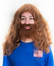 Alexi Lalas USA Football Fancy Dress Wig & Beard